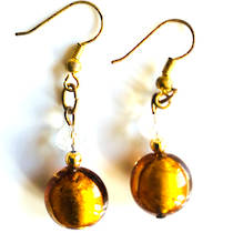Murano Glass Bead Earrings - Mare (Bronze)