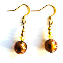 Murano Glass Bead Earrings - Oceano (Bronze)