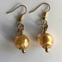Murano Glass Bead Earrings - Marta (Gold/Gold Leaf)