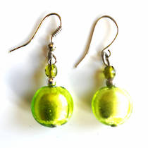 Murano Glass Bead Earrings - Mare (green/silver)