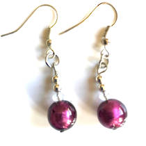 Murano Glass Bead Earrings - Oceano (Purple Silver)