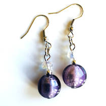 Murano Glass Bead Earrings - Oceano (Lilac/Silver)