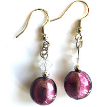 Murano Glass Bead Earrings - Mare (purple/silver)