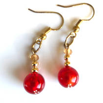 Murano Glass Bead Earrings - Oceano (Red/Gold)
