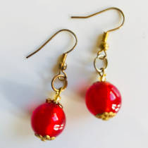 Murano Glass Bead Earrings - Marta (Gold/Red)