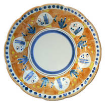 Hand-Painted Ceramics Pesce Dessert/Pasta Plate Orange