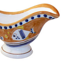 Hand-Painted Ceramics Pesce Sauce Boat Orange