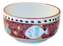 Hand-Painted Ceramics Pesce Cereal Bowl Red