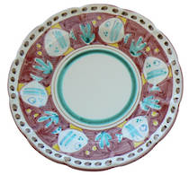 Hand-Painted Ceramics Pesce Dessert/Pasta Plate Red