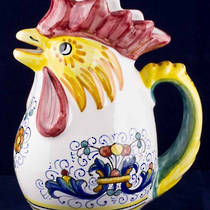 Hand-Painted Ceramics Ricco Deruta Rooster Jug Small/Medium/Large