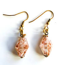 Murano Glass Bead Earrings - Simona Diamond (Clear/Rose Gold)