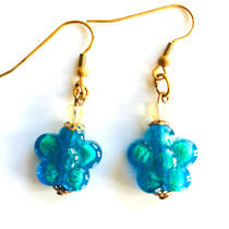 Murano Glass Bead Earrings - Simona Flowers (Aqua/Gold)