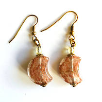 Murano Glass Bead Earrings - Simona Moon (Clear/Rose Gold)
