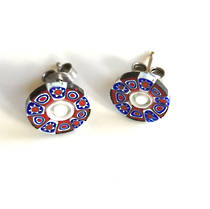 Murano Glass Bead Earrings - Millefiori Studs