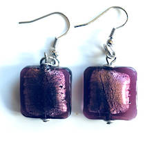 Murano Glass Bead Earrings - Lucia (square - lilac/silver foil)