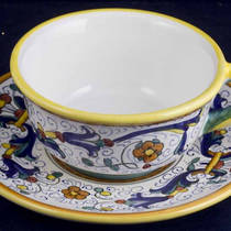 Hand-Painted Ceramics Ricco Deruta Tea/Coffee Cup and Saucer