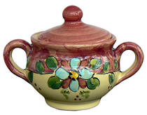 Hand-Painted Ceramics Vietri Sugar Bowl Red