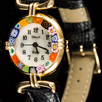 Murano Glass Millefiori Watch Black Strap Gold