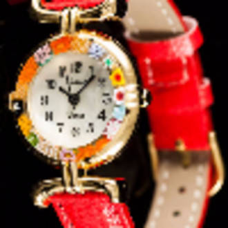 Murano Glass Millefiori Watch Red Strap Gold
