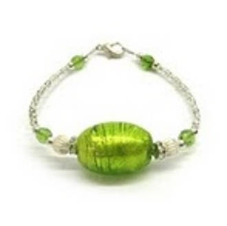 Murano Glass Bracelet Oval Light Green