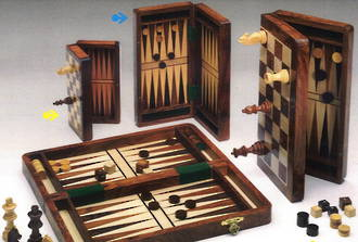 Wooden Chess/Draughts/Backgammon Set