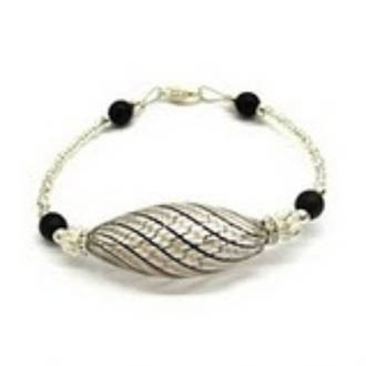 Oval Bead Bracelet - black