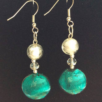 Murano Glass Serena Earrings - White/Green