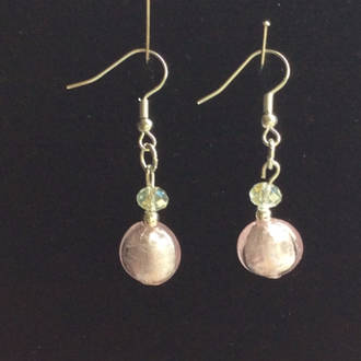 Murano Glass Sara Bead Earrings - pink