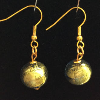 Murano Glass Earrings - Blue/Gold foil