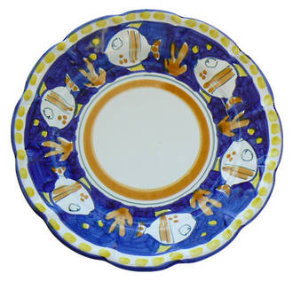 Hand-Painted Ceramics Pesce Side Plate Blue