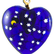 Murano Glass Pendant Millefiori Heart Night Sky