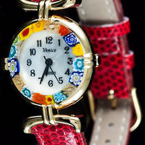 Murano Glass Millefiori Watch  - Dark Red Strap
