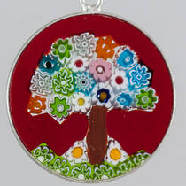 Murano Glass Pendant Millefiori  26mm - Tree of Life