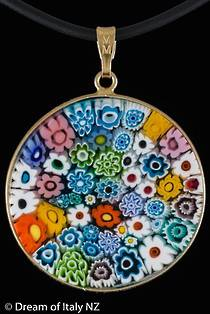 Murano Glass Pendant Millefiori 32mm - Multi
