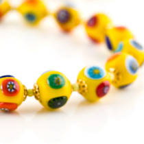 Millefiori Bead Necklace Nerida 10mm Yellow