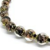Murano Glass Bead Necklace Corintia Black 8mm