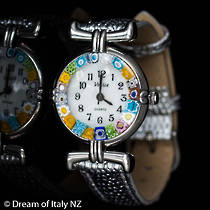 Murano Glass Millefiori Watch Silver Strap