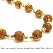 Murano Glass Bead Necklace Corintia 15mm Gold