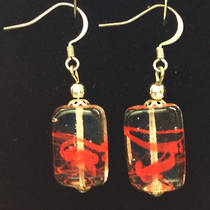 Murano Glass Earrings - Oblong - Red
