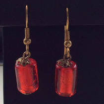 Murano Glass Earrings - Gold/Red