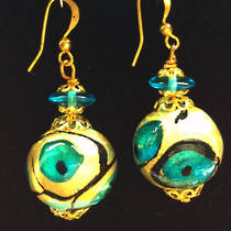 Murano Glass Earrings - Gold/Aqua/Black