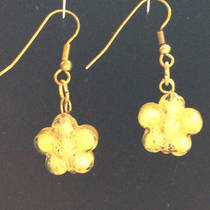 Murano Glass Gioconda Earrings - Gold Flower