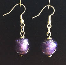 Murano Glass Marta Earrings - Purple/Silver foil