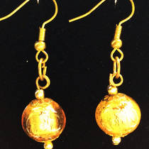 Murano Glass Marta Earrings - Gold/Silver foil