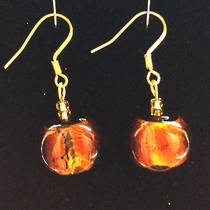 Murano Glass Elena Earrings - Amber/Gold