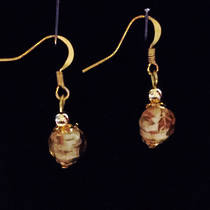 Murano Glass Corintia Earrings - Amber/White