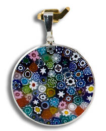Murano Glass Pendant Millefiori 26mm Multi