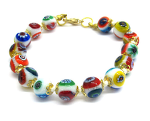 Murano Glass Bead Bracelet - Nerida White