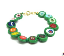 Murano Glass Bead Bracelet - Nerida (Flat) Green