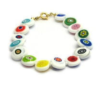 Murano Glass Bead Bracelet - Nerida (Flat) White